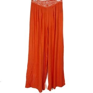 MAUDE Anthro embroidered waist palazzo style pants